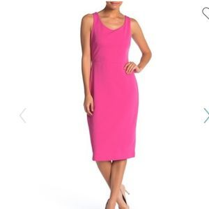 Betsey Johnson Scoop Neck Crepe Midi